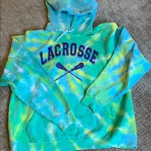 Warm hooded lacrosse Tie Dye sweatshirt
